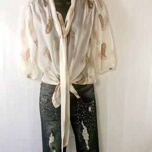 Antilia Femme paisley beautiful sheer blouse. S 🌾